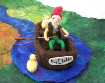 Gnome in a boat, needle felted gnome, Waldorf, felt rowing boat, Play mat, Play scape, nursery school, play school, pre school, story time