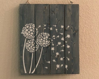 Large Dandelion Wall Sign, Wall art, Wall Hanging, Dandelion Sign, Wood Sign