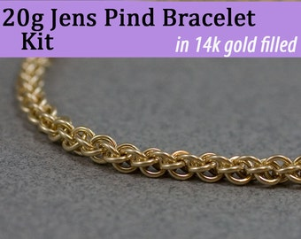 20g Jens Pind Bracelet Chainmaille Kit in Gold Fill
