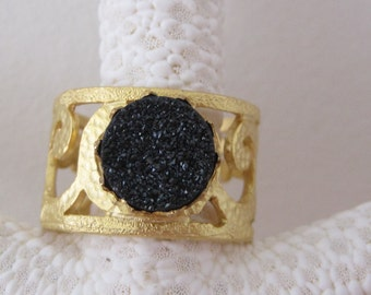 Black Druzy Agate and Gold Filigree Ring