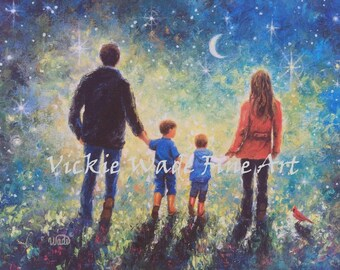 Family Two Boys Art Print evening walk, father, mother, two sons, starry night, twilight walk wall art, Vickie Wade