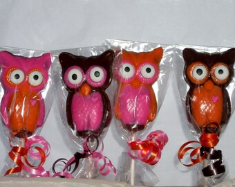 Chocolate Owl Lollipops Whoo loves you? Valentine's Day