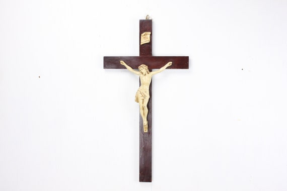 Vintage - Crucifix - Wood & Spelter - Hand Painted - Late 19th Century - Christian - Catholic - Jesus - Cross - Passion