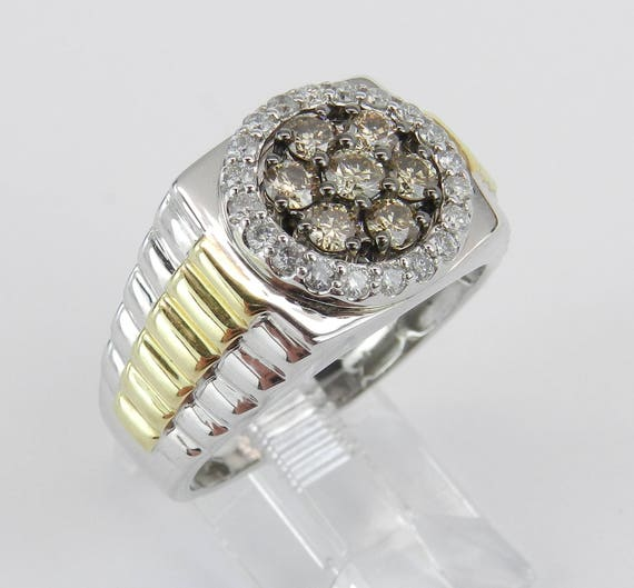 Mens Two Tone Gold 1 ct Cognac and White Diamond Cluster Engagement Ring Size 10