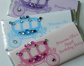 Princess Theme Party Favors-Candy Wrappers with Hershey bars-bling party favor-princess coach favor-princess carriage favor-princess party