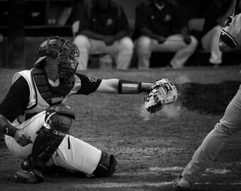 Baseball Catcher Black and White - Photography --  8x12