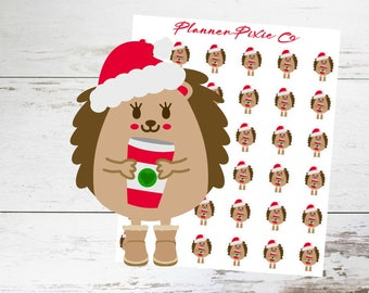 Hedgehog Planner Stickers // Christmas // Coffee // Cocoa // 012