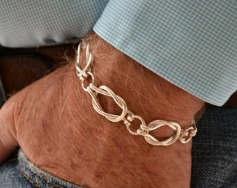 Men's Sailors Knot Link bracelet    Heavy weight Sterling silver.