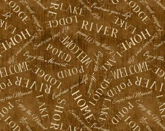 Wilmington Prints Lakeside Retreat Brown Words Allover Fabric - 1 yard