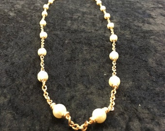 Bronze Italy Rose Gold Necklace with Baroque Pearls - Signed