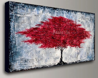 abstract painting Acrylic red tree wall art tree home office interior decor large canvas Textured impasto modern palette knife Fine Visi x