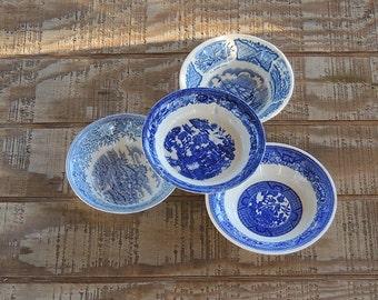 Mismatched Blue White Transferware Dessert Bowls Set of 4 Bowls, Tea Party, Sauce Bowls, Wedding, Berry Bowls, Vintage, Housewarming