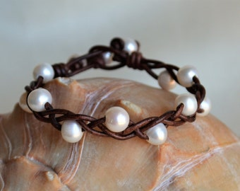 Pearl Leather Cuff Bracelet Pearls On Leather Braided Leather Braided Bracelet Bohemian Jewelry Pearl Jewelry Gifts For Her Yevga