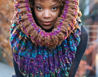 Super Chunky Knit Scarf, Colorful Knit Scarf, Knit Chunky Scarf, Knit Cowl Chunky, Knit Cowl, Knit Chunky Cowl - Underwater Forest