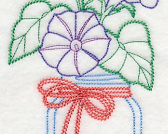 Morning Glory Flowers in a Mason Jar Flour Sack Hand/Dish Towel