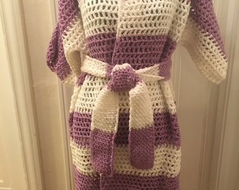 Orchid and White Cardigan Sweater Jacket with Belt