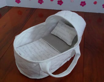 Mini Reborn Carrier, Small Doll Carrier, Doll Moses Basket, Mini Reborn Bed, Doll Carrier Basket, Fabric Doll Bed, Miniatures, Reborn