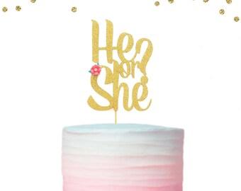 1 pc He or She? Flower Script baby shower gender reveal gold glitter cake topper