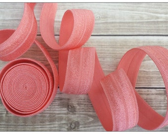 5/8 CORAL Fold Over Elastic 5 or 10 YARDS