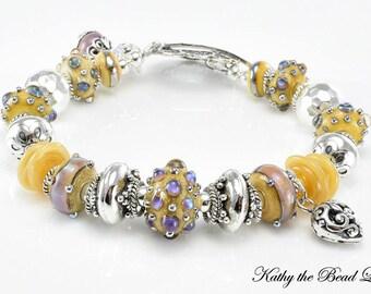 Lampwork Bracelet - Lampwork Sandy with Purple Opal Dots Bali Silver Bead Bracelet - KTBL