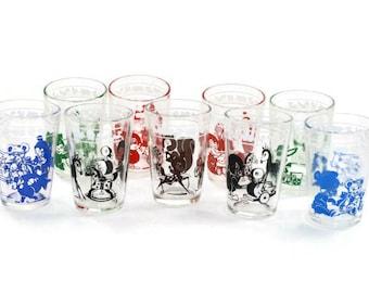 Vintage Swanky Swigs Kraft Kiddy Kup Juice Glasses Baby Toy Animals - Set of 9 Glasses