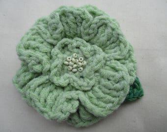 Crocheted flower corsage brooch