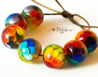 Set of Handmade Rainbow Lampwork Glass Beads