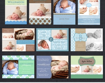 INSTANT DOWNLOAD - Birth Announcement Templates - Baby Boy Pack 1 - 10 PSD