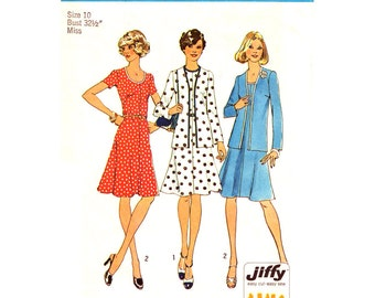 70s Cardigan Jacket, Scoop Neck Flared Dress Pattern Simplicity 6749 Womens Size 10 or 16 Vintage Sewing Pattern