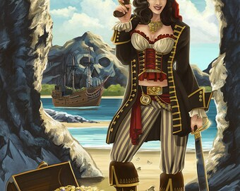 Seattle, Washington - Pinup PIrate (Art Prints available in multiple sizes)