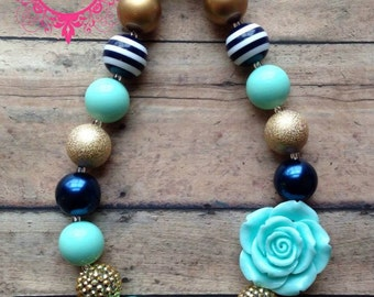 Mint Gold and Navy Chunky Necklace-Mint and Gold Chunky Necklace-Mint Gold bubblegum necklace-Photo Prop- Pageant Necklace