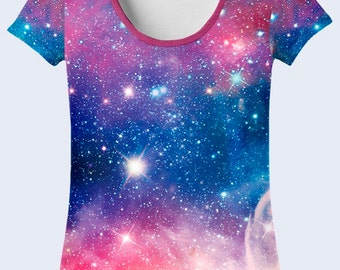 Outer Space Ladies Top, Purple T Shirt, Galaxy Clothing, Womens Apparel, Space Shirt, Astronomy Gift, Total Print