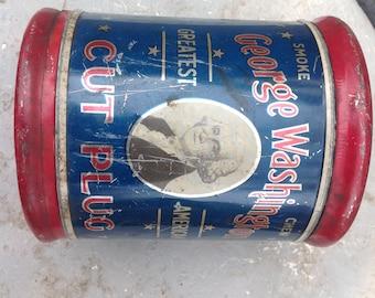 George Washington cut plug smoke tin
