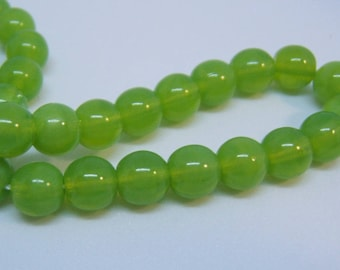 25 - Very cool 6mm Czech Glass Opal Green Round Beads