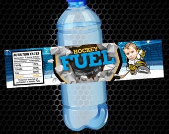 Hockey Water Bottle Label - Bottle Label - Water Bottle