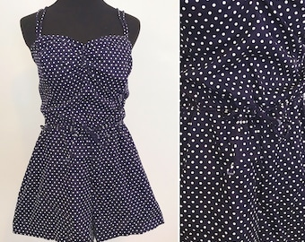 1980s does 1950s DEADSTOCK Gabar Play Suit Romper Bathing Suit - 1950s Polka Dotted Play Suit - 1960s Pin up Polka Dotted Romper Play Suit