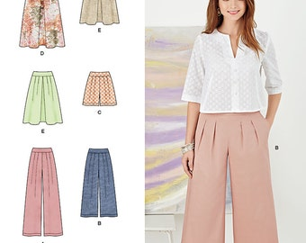 Simplicity Pattern 8092 Misses' Skirt in Two Lengths and Pants, Culottes or Shorts