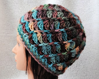 root beer float colorway 22 micron polwarth/hand spun wool/crochet adult hat/beanie