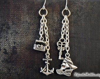 Pirate Jewelry, Pirate Earrings Treasure Chest, Key, Anchor, Ship Charms, Pirates of the Caribbean, Pirate Cosplay, Disney Bound