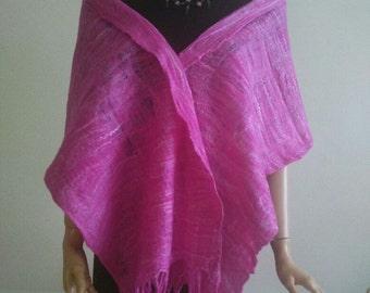 Wet felted Shawl made of  Pink 70/30 Merinos wool/ Mulberry Silk, OAK, art wrap, collar