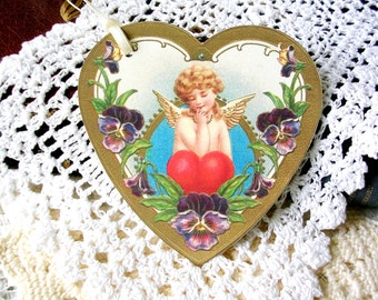 Victorian Style Heart Tags  - Angel Tags - Gift Tags - Set of 6 - Large Gift Tags - Anniversary Tags