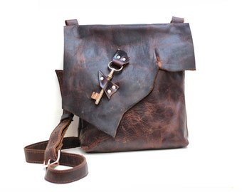 Slouchy Leather Bag Slouchy Leather Messenger Crossbody Satchel Distressed Raw Edge Purse Steampunk Pirate Bag Everyday Leather Messenger