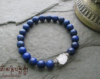 Grade AA Lapis lazuli Bracelet Mala with Rose Quartz bead
