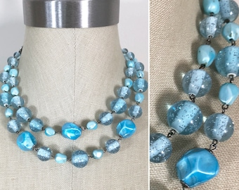 50s 60s Vintage Light Blue Turquoise Glitter Bead Double Strand Choker Necklace