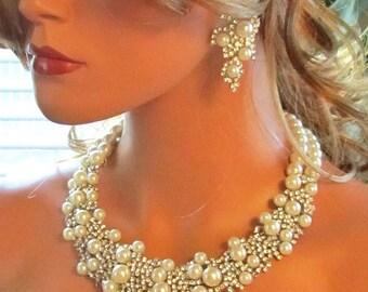 Bridal Pearl Jewelry Set, Wedding Jewelry Set, Bridal Necklace Earring Set, Ivory Pearl Bridal Jewelry, Bridal Statement Jewelry Set