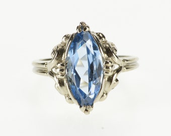 10K Marquise Blue Topaz Ornate Scroll Design Ring Size 6 White Gold
