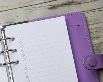 Hearts List/PERSONAL Kalenderinlaga till Filofax, Kikki K och andra ringbundna planners