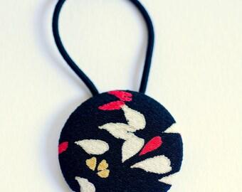 Autumn Leaves Kimono Fabric Button Hair Tie