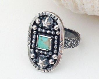 Kingman Turquoise Ring Size 6 3/4 Sterling Silver, Unique Stars and Stripes Theme, Artisan Silversmith Stacking Bohemian Style Square Stone
