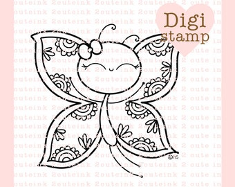 Butterfly Doodle Digital Stamp for Card Making, Paper Crafts, Scrapbooking, Stickers, Coloring Pages